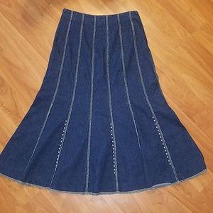Reba denim long western flare skirt size 4